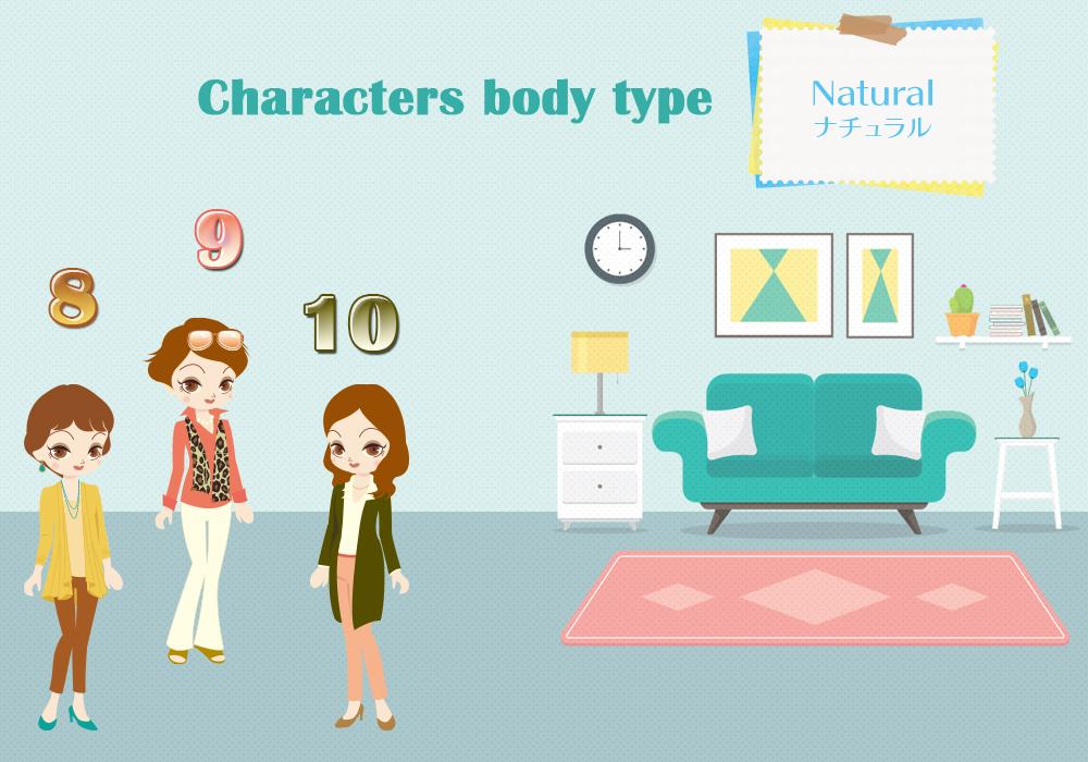 Natural(ナチュラル)・・・フレーム感のある伸びやかボディ 骨格診断